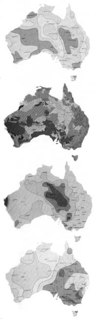 These maps of australia depict numerical averages related to natural features